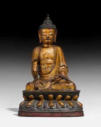 A LARGE BRONZE FIGURE OF BUDDHA SHAKYAMUNI