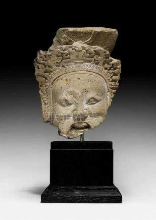 A HEAD FRAGMENT OF A HEAVENLY OFFICIAL