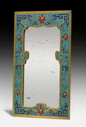 A CLOISONNE ENAMEL FRAME WITH A MIRROR