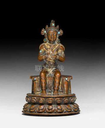 A COPPER FIGURE OF THE PREACHING MAITREYA.