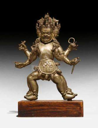 A BRONZE FIGURE OF THE SIX-ARMED HAYAGRIVA.