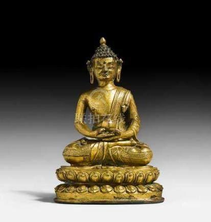 A GILT COPPER ALLOY FIGURE OF BUDDHA SHAKYAMUNI.