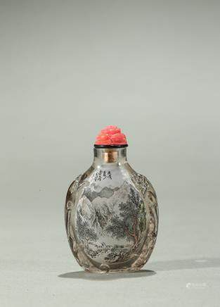 Wang Xisan: inside-painted crystal 'landscape' snuff bottle