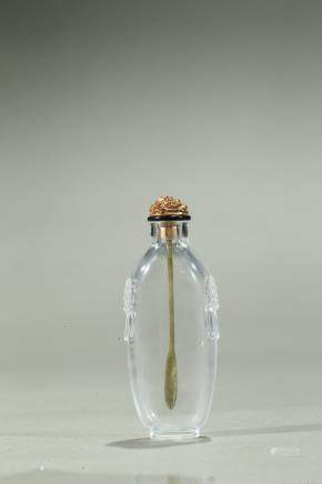 A rock crystal carved snuff bottle