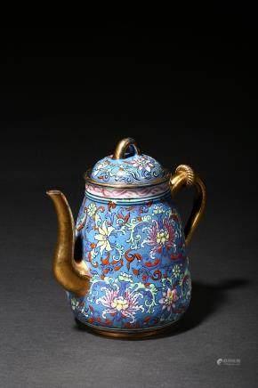 A zisha gilt and enamel 'foliate' teapot