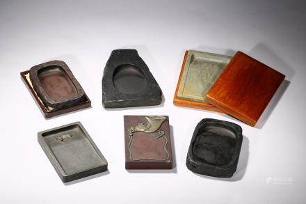 A group of various six inkstones