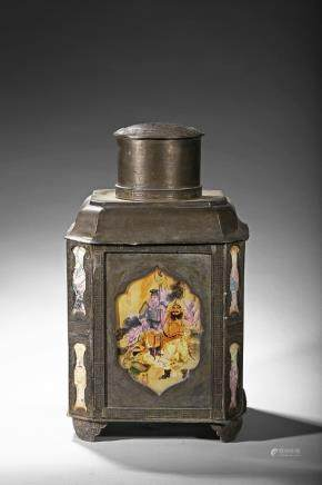 A very large hexagonal pewter 'story scene' tea caddy