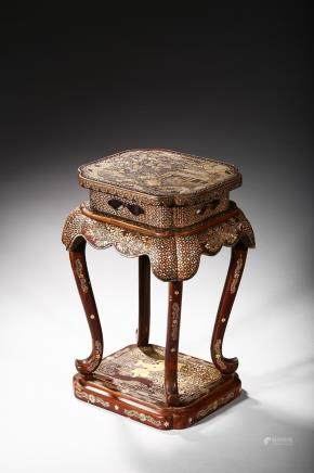 A mother of pearl inlaid lacquer stand