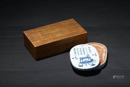 A blue and white 'poem' inkstone