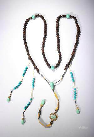 An tanxiangmu and turquoise court necklace