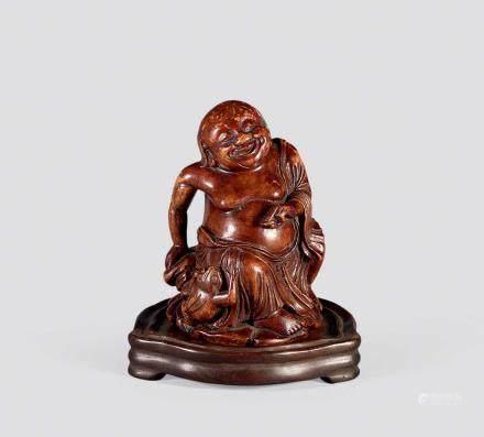 清竹雕佛像刘海戏蟾