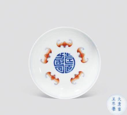 清雍正官窑斗彩三多纹碟