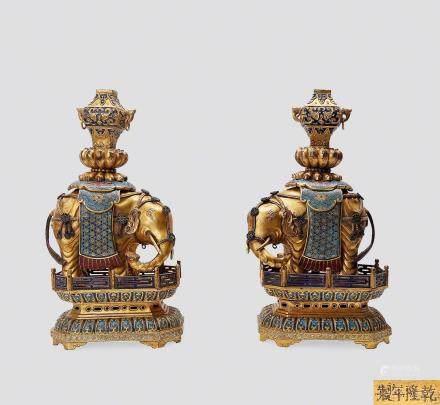 清乾隆铜鎏金掐丝珐琅太平有象