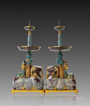 清中期铜鎏金掐丝珐琅胡人骑羊烛台一对