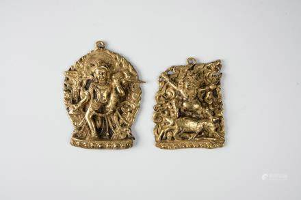Two small gilt-bronze divinities plates,  18th C