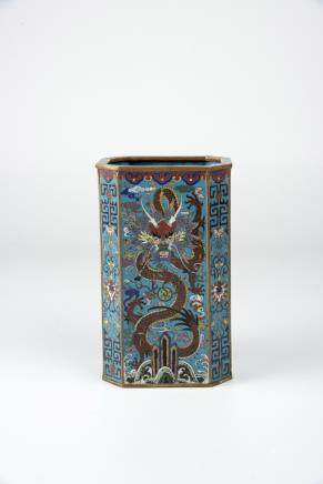 China, 19th C., cloisonné dragon vase