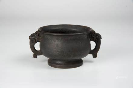 Qing, Silver Inlaid Bronze Censor with Dragon Handles ShiSou Mark