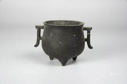 Qing, Bronze Tripod Censor with Dragon Flanges Handles