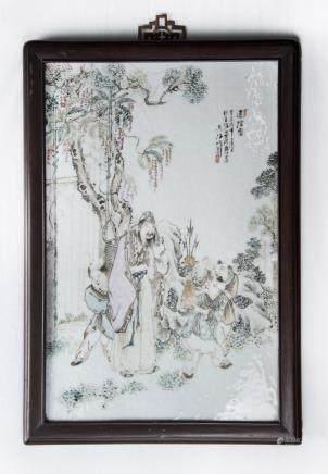 Qianjiang Figural Porcelain Plaque (Wu Haifeng Mark)