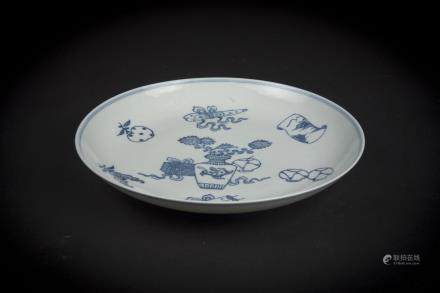 Qing, Jiaqing A Blue and White Floral Bouquet Plate