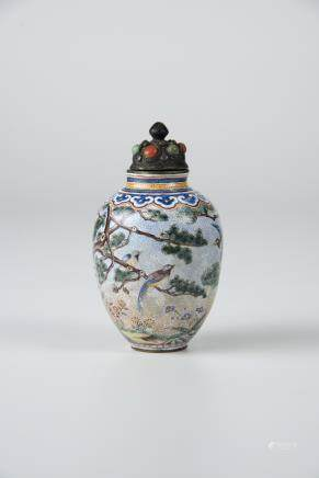 Famille-rose Enamel on Copper Birds and Flowers Vase Snuff Bottle (Qianlong Mark)