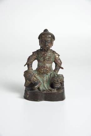 A Gilt-Lacquer And Polychrome Bronze Figure Of Guandi Ming Dynasty