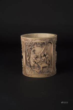 Republic Period, Ivory Brushpot Carved with Ladies