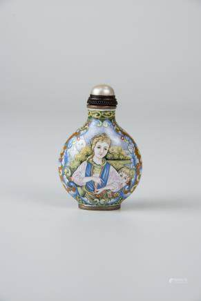 Famille-rose Enamel on Copper Western Figures Snuff Bottle (Yongzheng Mark)