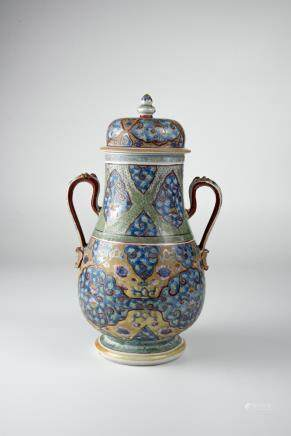 Kangxu, Famille-rose with Underglazed Blue Vase with Loop Handles