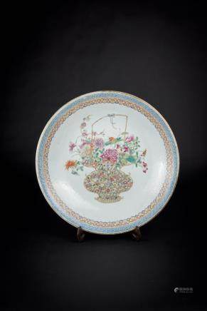 Qing, A Large Famille-rose Floral Bouquet Plate