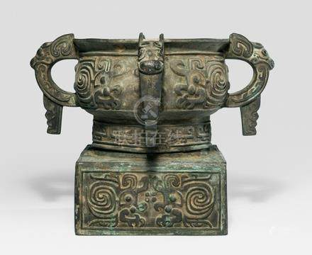 A BRONZE RITUAL VESSEL GUI IN ARCHAIC STYLE, China, probably Qing dynasty - Property from an old Diplomate collection, assembled in China prior 1970 - Partly corroded