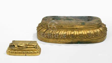 TWO GILT-BRONZE LOTUS BASES OF DEITIES, Tibet and Tibeto-Chinese, 17th and 18th ct. - Property from an old European private collection, assembled prior 1990 - Very minor wear, very slightly chipped