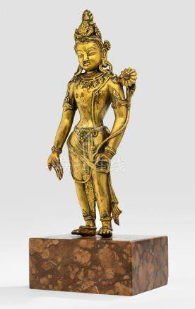 A GILT-BRONZE MODEL OF STANDING PADMAPANI, Tibet, ca. 19th ct. - Property from a South German private collection, bought prior 1990 - Minor wear, very slightly chipped