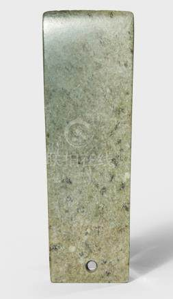 A GREY-GREEN TABLET-SHAPED CEREMONIAL BLADE, China, probably Ming dynasty or earlier - Property from a Bavarian private collection, bought 2001 from Alberts-Langdon Oriental Art, Boston - Cf. J.J. Lally 'Chinese Archaic Jades and Bronzes from the estate of Max Loehr', 1993, no. 30 - Few tiny chips