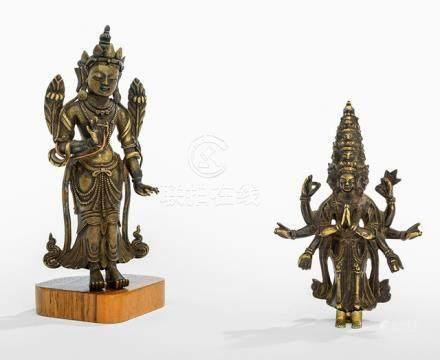 TWO BRONZES DEPICTING A BODHISATTVA AND EKADASHALOKESHVARA