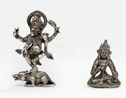 TWO SILVER FIGURES OF A BODHISATTVA AND GANESHA