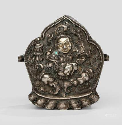 A GOOD PART-GILT SILVER GAU WITH VAISHRAVANA WITH COPPER PLATE