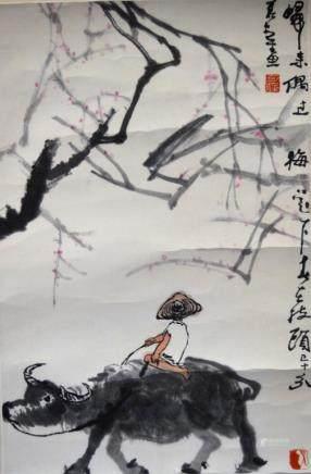 Li Keren: Chinese Ink Painting Boy & Buffalo