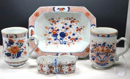 4 Chinese Kangxi Porcelains Blue, Iron Red, Gold
