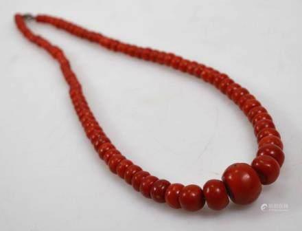 Fine Aka Dark Coral Bead Necklace; 110G