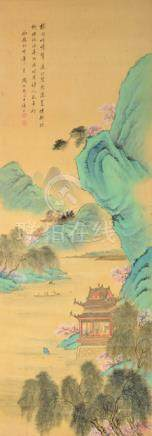 A PAINTING OF A ROCKY RIVER LANDSCAPE WITH PAVILIONS, China - From a German private collection, assembled in the 1970ies/80ies and by descent to the present owner - Ink and colour on paper, framed under glass - Very slightly stained