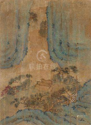 A GROUP OF FOUR LANDSCAPE ALBUM PAGES ON SILK, China, Ming dynasty - Provenance: Former old German diplomate collection, assembled in China in the 1920's - Minor damages due to age