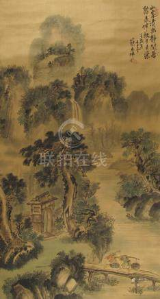 JIAN DAKUN (B. 1949), A LANDSCAPE PAINTING, China, dated 1982. Hanging scroll, ink and light colors on silk - Property from a European private collection