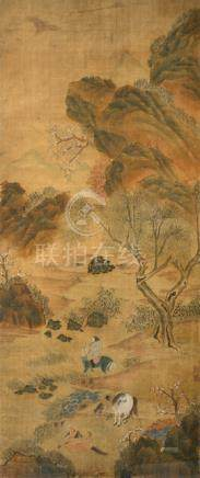 A LANDSCAPE PAINTING DEPICTING A RIDER ON HORSEBACK AND THREE HORSES, China - Ink and colour on paper, framed under glass - Signs of aging
