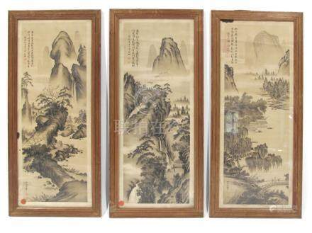 THREE PRINTS DEPICTING LANDCAPES, China - Former European private collection, acquired prior 1990 - Framed under glass, signs of aging
