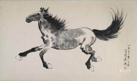 A HORSE PAINTING IN THE STYLE OF XU BEIHONG, China, dated 1950, ink on paper, framed under glass - Property from an European private collection bought according to the present owner by his father in China in the 1950's - Minor traces of age