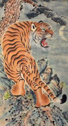 AN ANONYMOUS PAINTING OF A SNARLING TIGER, China/Korea - Property from a European private collection, acquired until 2011 - Slightly stained