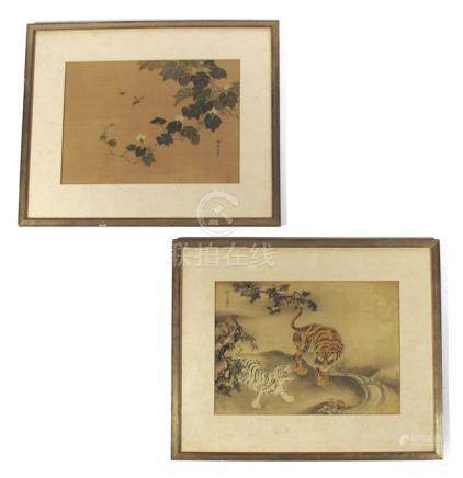 TWO ANIMAL PAINTINGS ON SILK DEPICTING TIGERS AND INSECTS, China, late Qing period - Property from an Austrian private collection, acquired between 1950 and 1970 - Colours on silk, inscribed, framed under glass, few mould stains
