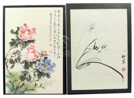 TWO FLOWER PAINTINGS, China, signed Zhou Zhikang and Zhou Yanggao - Property from a South German private collection, assembled in the 1990ies - Framed under glass