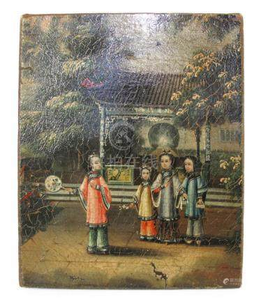 A PAINTING DEPICTING THREE CHILDREN AND A LADY IN A LANDSCAPE, China, 19th/20th ct. - Oil/canvas - Property from a European private collection, acquired until 2011 - Damages due to age